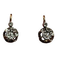 Antique Victorian French 18 K gold diamond Dormeuses Earrings