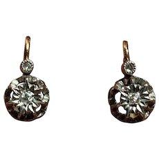 Antique Victorian French 18 K gold diamond Dormeuses Earrings