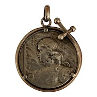 French Antique silver Joan of Arc pendant Medal very rare