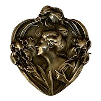 French Antique Art Nouveau silver Lady & Iris brooch