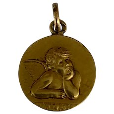 Antique French Cherub Angel  Medal Pendant Charm gold filled 1900