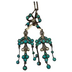 Antique Victorian Silver Turquoise & seed pearl drop Pendant