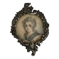 Antique silver Button Hand Painted Lady Miniature  .