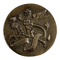 "French antique very large  silver chimera / dragon/ griffon  thistle "" Qui s'y frotte s'y pique"" button"