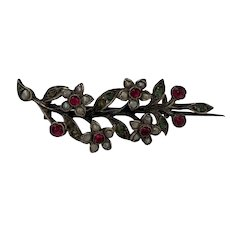 Antique French silver pearl emerald garnet Flower brooch