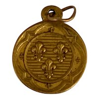 Antique tiny French 18 K gold Fleur de lys  charm medal