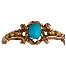Victorian  English 18 K gold Turquoise Ring