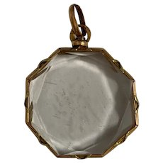 French Antique 18 K gold Double Sided Locket Pendant  faceted crystal with X