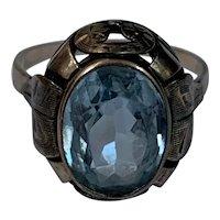 Aquamarine Engagement Ring 8 K gold vintage