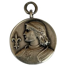 French Antique Joan of Arc pendant locket in 800-900 silver