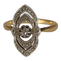 Art Deco French 18 K gold old cut diamond ring