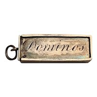French antique 800-900 silver domino box charm doll
