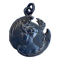 Antique French 800-900 silver Napoleon eagle pendant charm