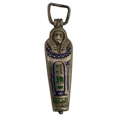 Silver Enamel Charm Pendant Sarcophagus with Original Mummy 1920's Egyptian Revival