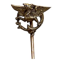 Antique French  gold filled FIX chimera/ griffin tie pin