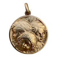 Antique French Very large Cherub pendant Art deco