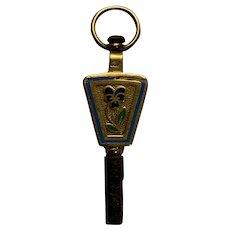 Antique French Bellows watch key 18 K gold Pansy enamel