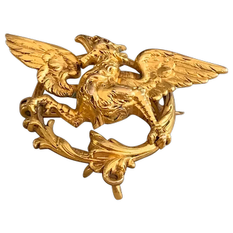 French Art Nouveau Fix gold fillled Dragon Chimera Griffin brooch
