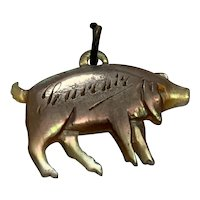 French Antique mother of pearl souvenir pig charm pendant