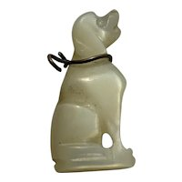 Antique mother of pearl dog pendant charm