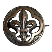 Antique French silver and gold Fleur de lis brooch