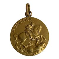 French antique gold fill St George charm Pendant