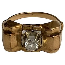 French Art deco 18 k gold ring