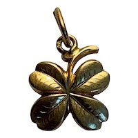 French 18 K gold Lucky Four Leaf  Clover Charm