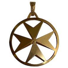 Vintage 18 K gold Maltese cross pendant charm