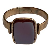 French Antique 18 K signet  ring with agate