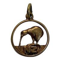 Vintage New Zealand Kiwi Bird Charm 14 K gold
