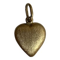 Vintage 18 K  brushed Gold Heart pendant Charm