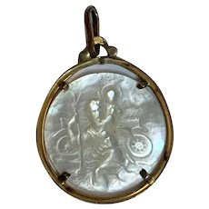 Antique Saint Christopher / car  mother of pearl gold fill  lucky charm pendant