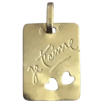 Vintage 18 K gold French charm  je t'aime heart