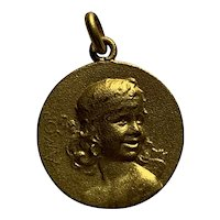Antique French Lady girl Pendant Charm gold filled on bronze