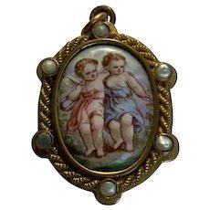 Antique Victorian pearl Enamel  angels Locket Pendant C.1880