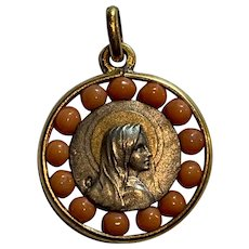 Antique French silver and gold Mary medal charm  Salmon coral