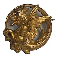 Antique French Art Nouveau FIX  Griffin Chimera 18 K gold fill