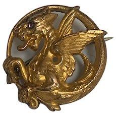 Antique French Art Nouveau FIX  Griffin Chimera 18 K gold fill