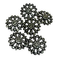Antique 800-900 silver paste diamond Buttons