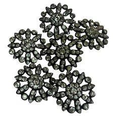 Antique 800-900 silver paste diamond Buttons