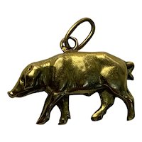 Antique French 18 K gold pig charm