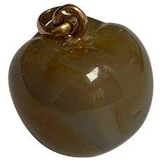 Antique agate 18 K gold apple charm / breloque