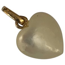 Vintage 18 K gold mother of peal heart charm/ breloque