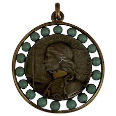 Antique French silver and gold Joan of Arc medal charm turquoise glass beads