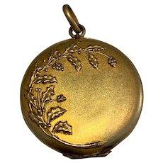 Antique Art Nouveau Holly gold Filled Double Photo Locket