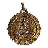 """Large French Pendant charm 18 K gold """" plus qu'hier moins que demain""""  Augis 1950"""