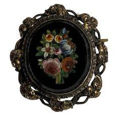 Antique Micromosaic Brooch flower silver gold Grand Tour Souvenir