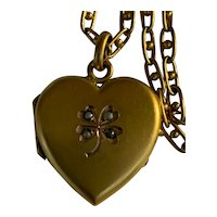 Antique French Art Nouveau heart photo locket clover with muff chain FIX 18 K gold fill