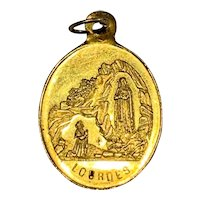 Antique French Tiny 18 KT gold Virgin Mary Lady of Lourdes Medal charm